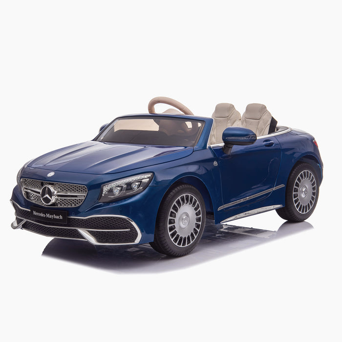 kids mercedes maybach s650 licensed ride on electric car battery operated power wheels car with parental remote control main front 3 blue benz 12v 4wd