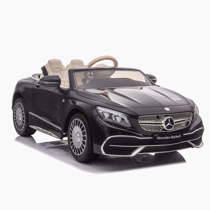 kids mercedes maybach s650 licensed ride on electric car battery operated power wheels car with parental remote control main front 5 black benz 12v 4wd
