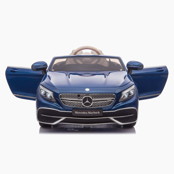 kids mercedes maybach s650 licensed ride on electric car battery operated power wheels car with parental remote control main front direct doors open blue benz 12v 4wd