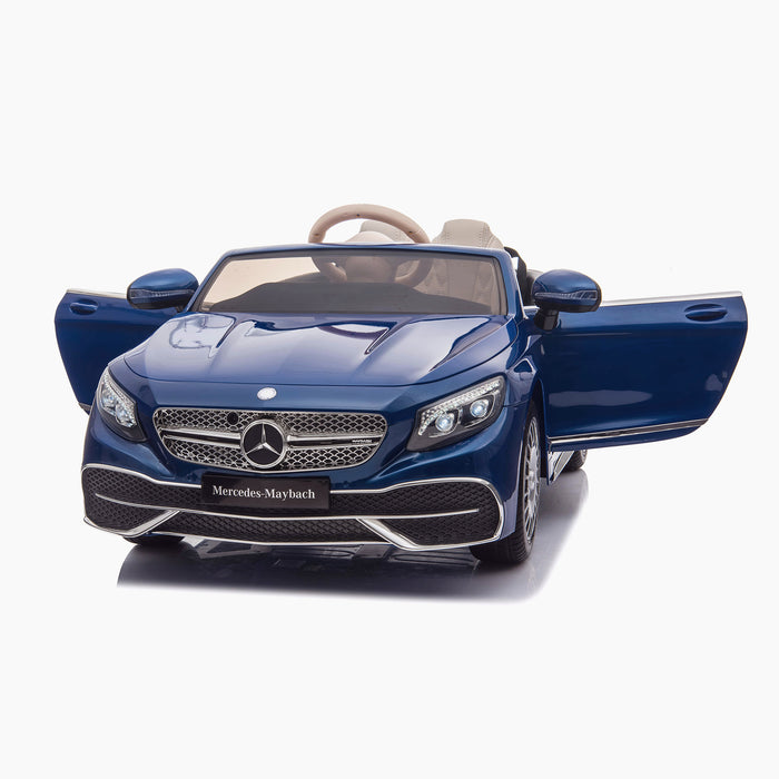 kids mercedes maybach s650 licensed ride on electric car battery operated power wheels car with parental remote control main front doors opne blue benz 12v 4wd