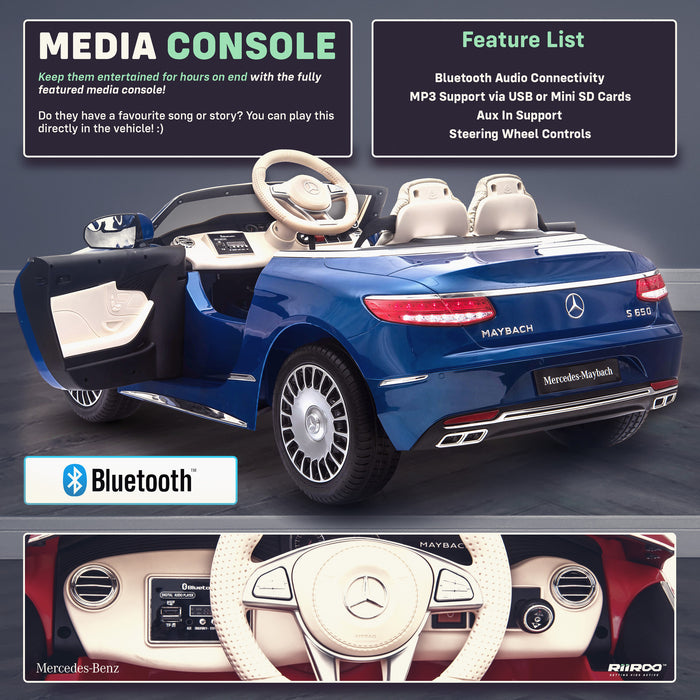 kids mercedes maybach s650 licensed ride on electric car battery operated power wheels car with parental remote control main media centre benz 12v 4wd