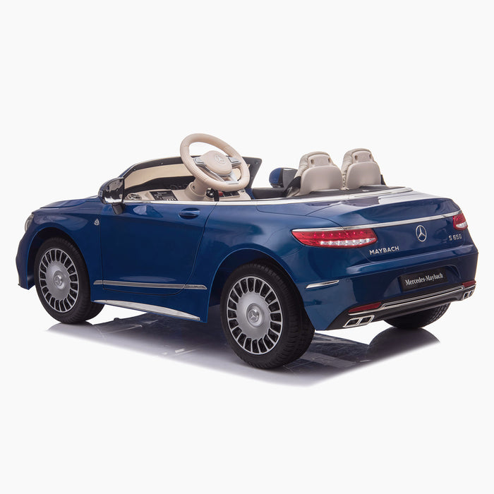 kids mercedes maybach s650 licensed ride on electric car battery operated power wheels car with parental remote control main rear blue benz 12v 4wd