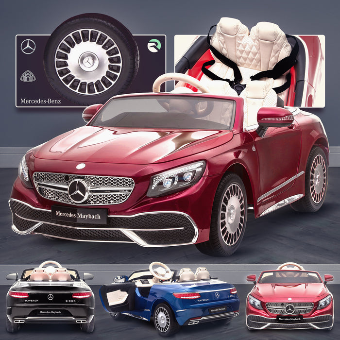 kids mercedes maybach s650 licensed ride on electric car battery operated power wheels car with parental remote control main red Painted Red benz 12v 4wd