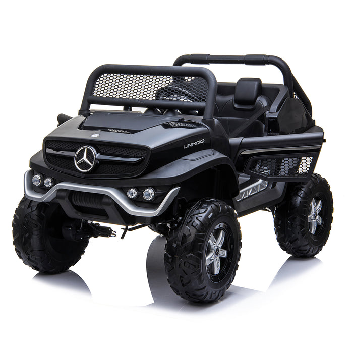 kids mercedes unimog licensed electric ride on car black 10 benz utv atv buggy 12v 4wd