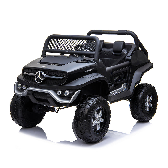 kids mercedes unimog licensed electric ride on car black 2 benz utv atv buggy 12v 4wd paint camouflage