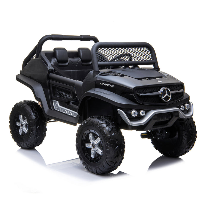kids mercedes unimog licensed electric ride on car black 7 benz utv atv buggy 12v 4wd paint camouflage