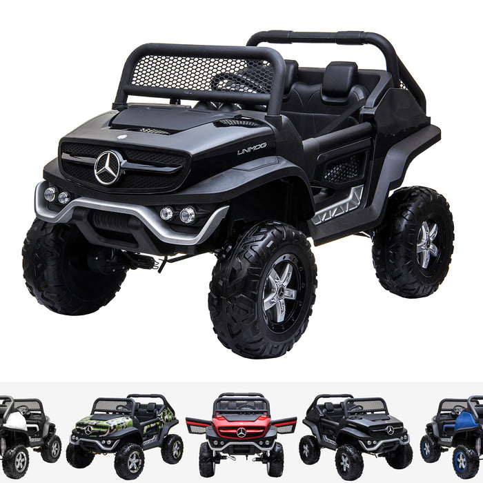 kids mercedes unimog licensed electric ride on car black benz utv atv buggy 12v 4wd paint camouflage