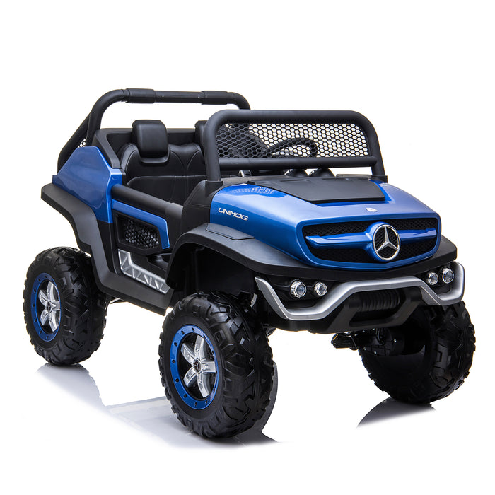 kids mercedes unimog licensed electric ride on car blue 5 benz utv atv buggy 12v 4wd paint camouflage