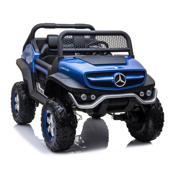 kids mercedes unimog licensed electric ride on car blue 6 benz utv atv buggy 12v 4wd paint camouflage
