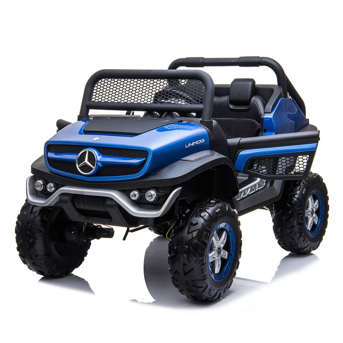 kids mercedes unimog licensed electric ride on car blue 9 benz utv atv buggy 12v 4wd paint camouflage