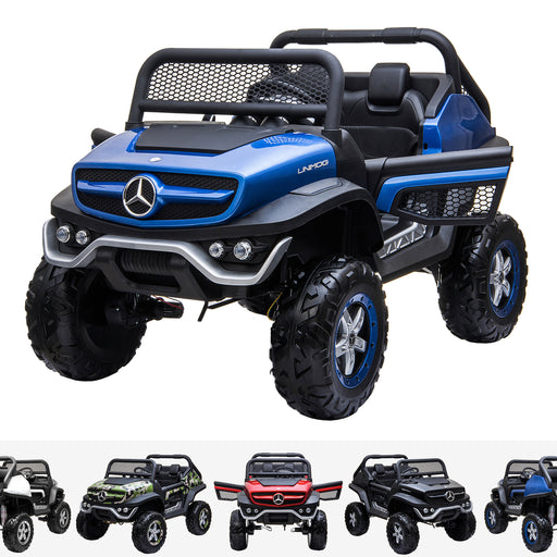 kids mercedes unimog licensed electric ride on car blue benz utv atv buggy 12v 4wd paint blue