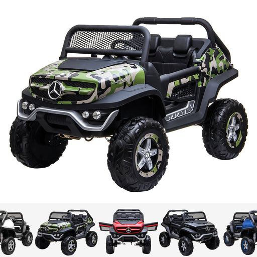 kids mercedes unimog licensed electric ride on car camo benz utv atv buggy 12v 4wd paint black