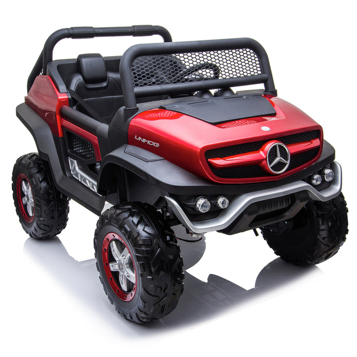kids mercedes unimog licensed electric ride on car red 13 benz utv atv buggy 12v 4wd