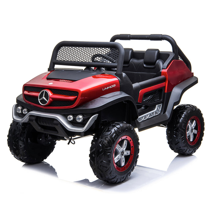 kids mercedes unimog licensed electric ride on car red 2 benz utv atv buggy 12v 4wd paint