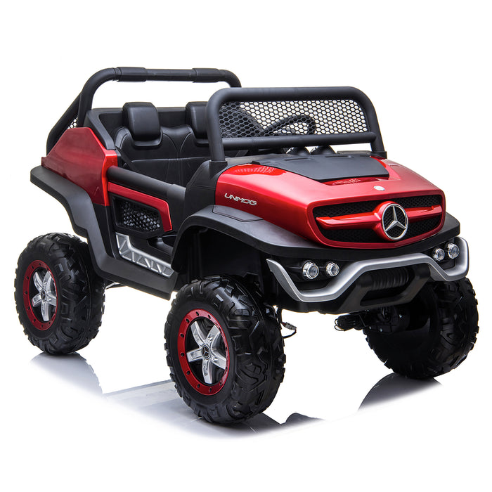 kids mercedes unimog licensed electric ride on car red 6 benz utv atv buggy 12v 4wd paint