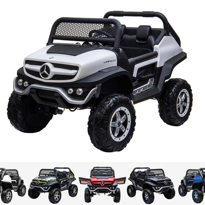 kids mercedes unimog licensed electric ride on car white benz utv atv buggy 12v 4wd paint camouflage
