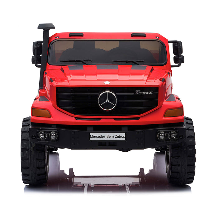 kids mercedes zetros licensed electric ride on car truck red 1 4wd 2 seater