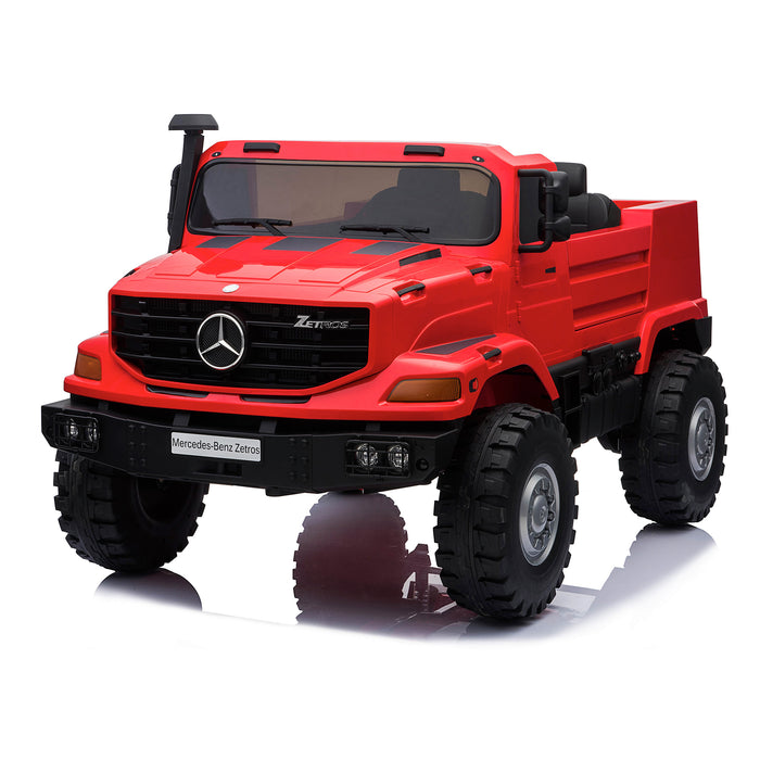 kids mercedes zetros licensed electric ride on car truck red 2 4wd 2 seater