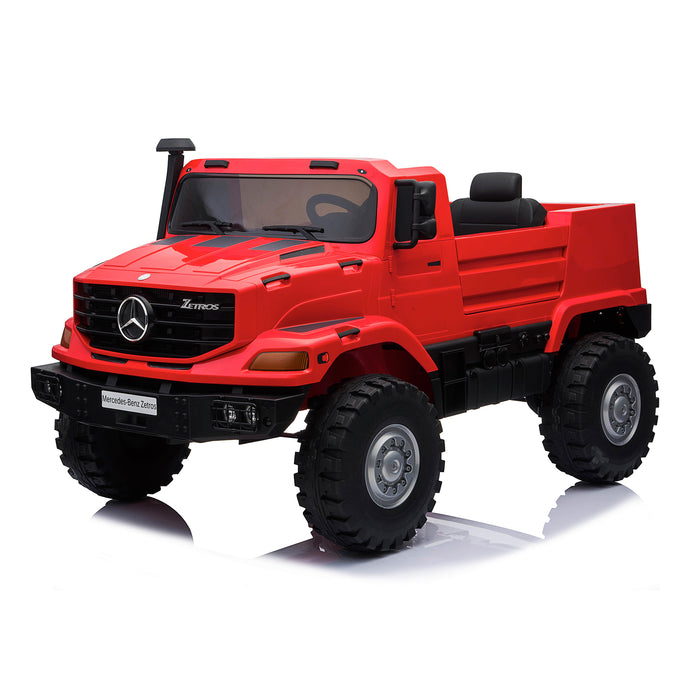 kids mercedes zetros licensed electric ride on car truck red 3 4wd 2 seater