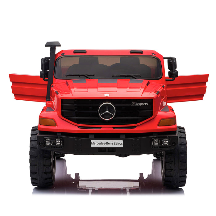 kids mercedes zetros licensed electric ride on car truck red 9 4wd 2 seater