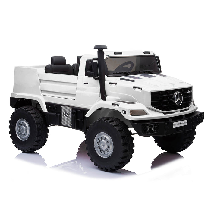 kids mercedes zetros licensed electric ride on car truck white 10 4wd 2 seater