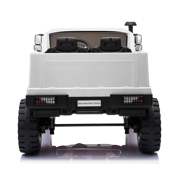 kids mercedes zetros licensed electric ride on car truck white 12 4wd 2 seater