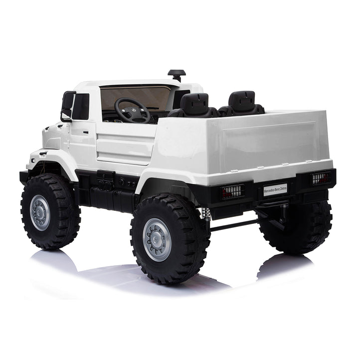 kids mercedes zetros licensed electric ride on car truck white 13 4wd 2 seater