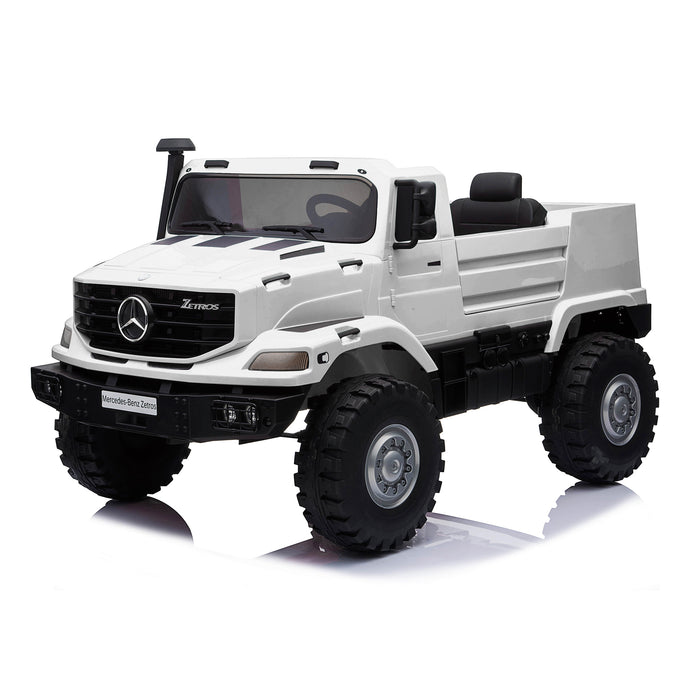 kids mercedes zetros licensed electric ride on car truck white 15 4wd 2 seater
