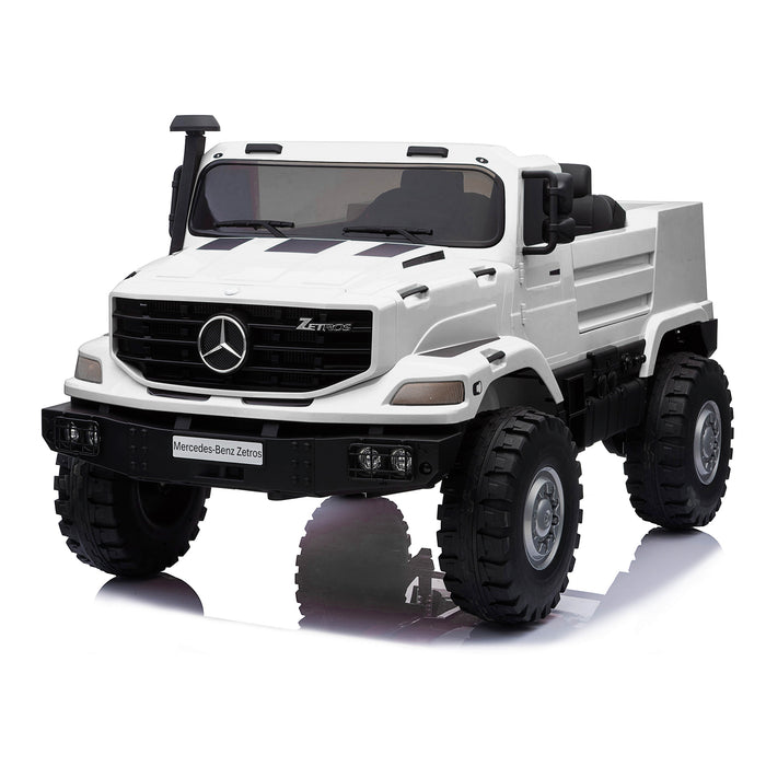 kids mercedes zetros licensed electric ride on car truck white 16 4wd 2 seater