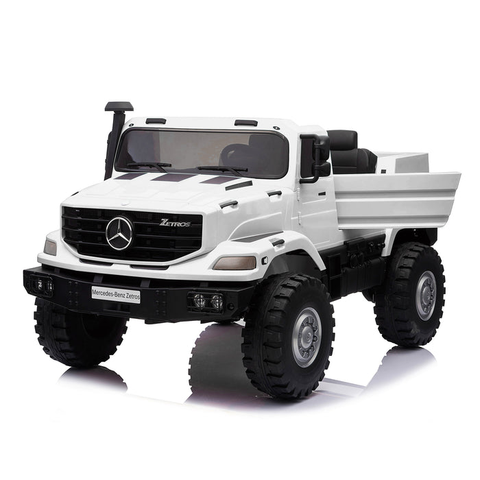 kids mercedes zetros licensed electric ride on car truck white 8 4wd 2 seater