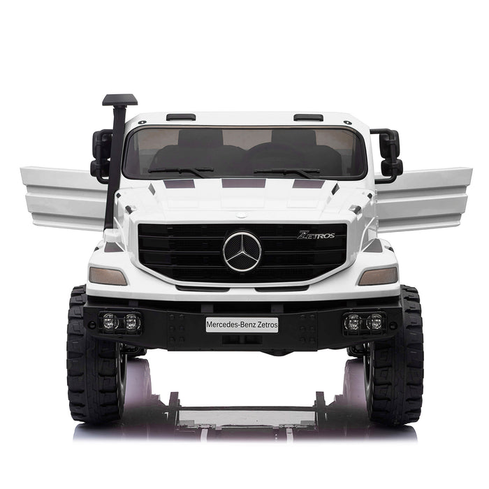 kids mercedes zetros licensed electric ride on car truck white 9 4wd 2 seater