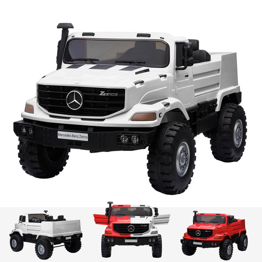 kids mercedes zetros licensed electric ride on car truck white 2wd 2 seater 24v white