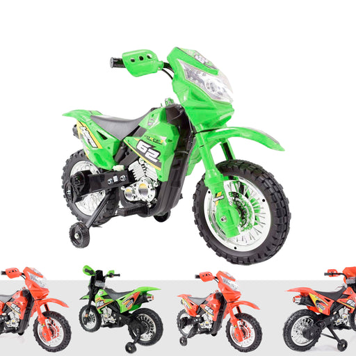 kids motocross 2 Green riiroo 6v motorcross battery powered electric ride on bike toy motorbike