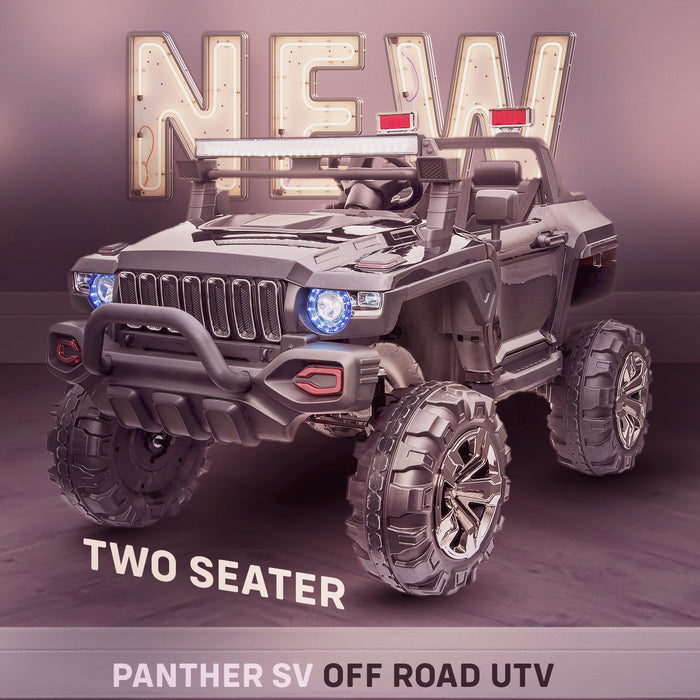 kids panther sv kids ride on car utv mx hummer style new in stock 2 seater 24v 4wd black
