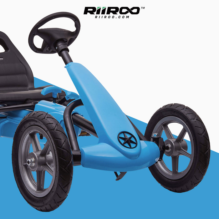kids pedal powered delux go kart s1000 blue close up riiroo