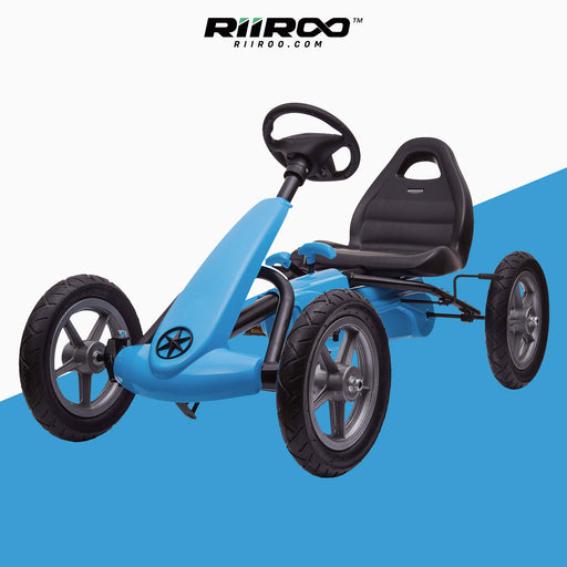 kids pedal powered delux go kart s1000 blue riiroo blue