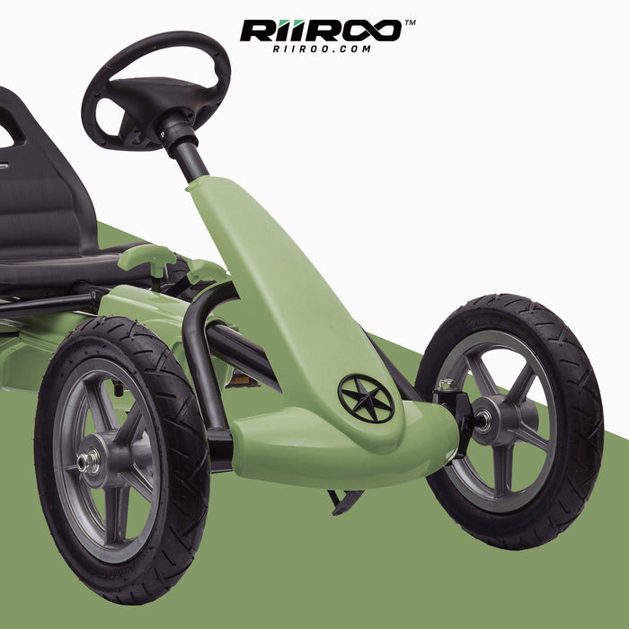 kids pedal powered delux go kart s1000 green close up riiroo