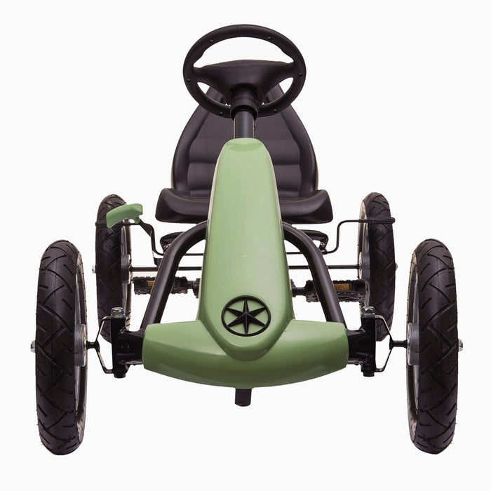 kids pedal powered delux go kart s1000 green front