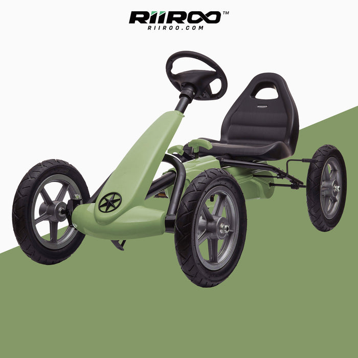 kids pedal powered delux go kart s1000 green riiroo green
