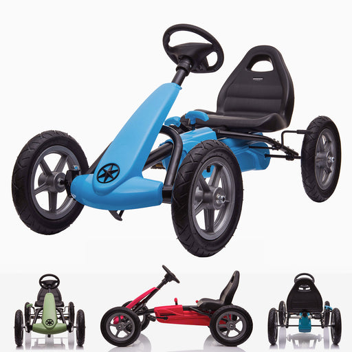 kids pedal powered delux go kart s1000 main blue riiroo blue
