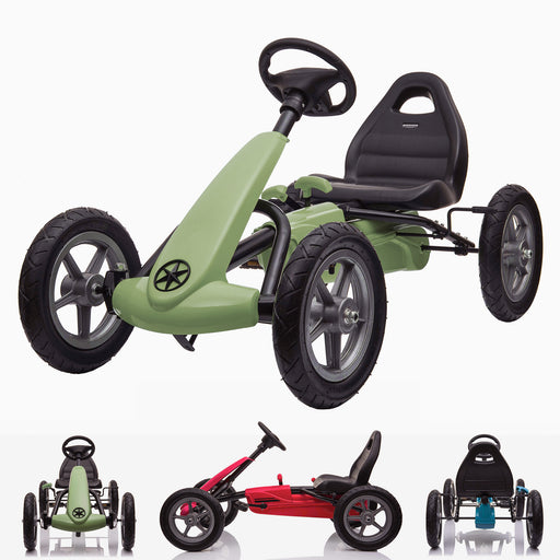 kids pedal powered delux go kart s1000 main green Green