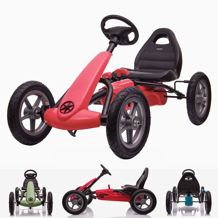 kids pedal powered delux go kart s1000 main red Red