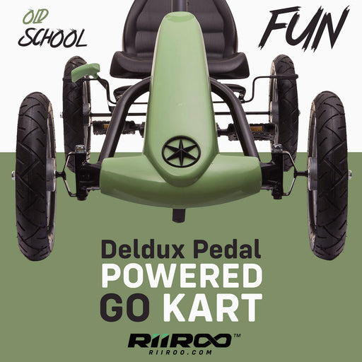kids pedal powered delux go kart s1000 old school fun riiroo green