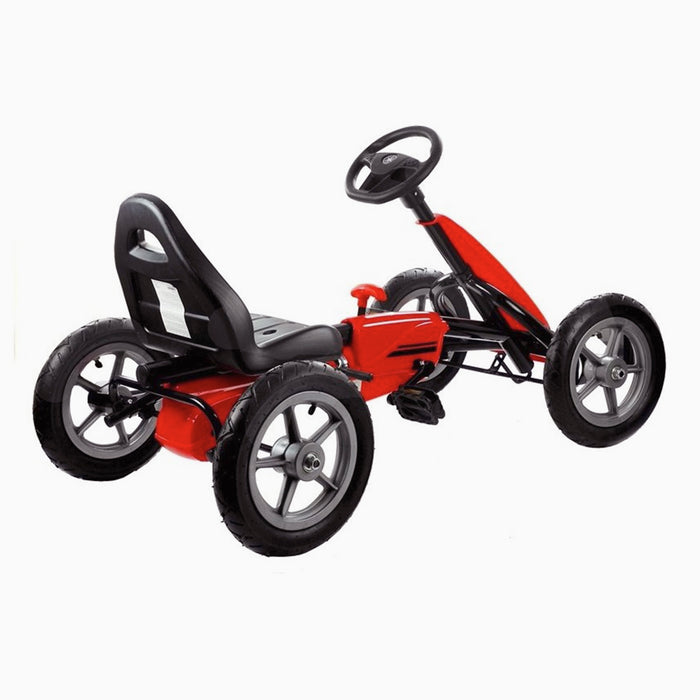 kids pedal powered delux go kart s1000 rear perspective red riiroo red