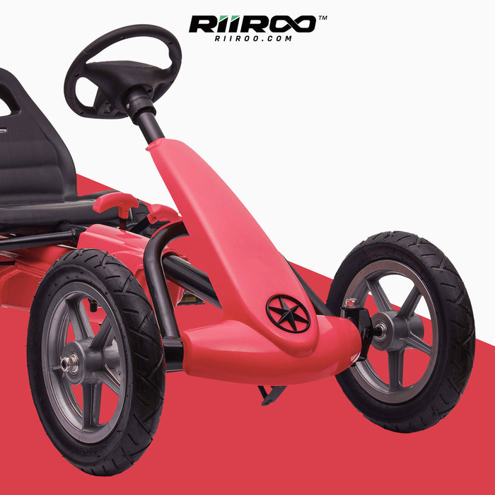 kids pedal powered delux go kart s1000 red close up