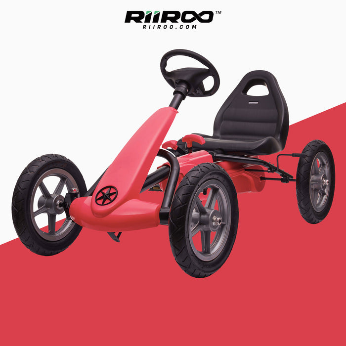 kids pedal powered delux go kart s1000 red riiroo red