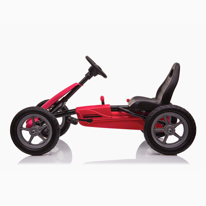kids pedal powered delux go kart s1000 side red