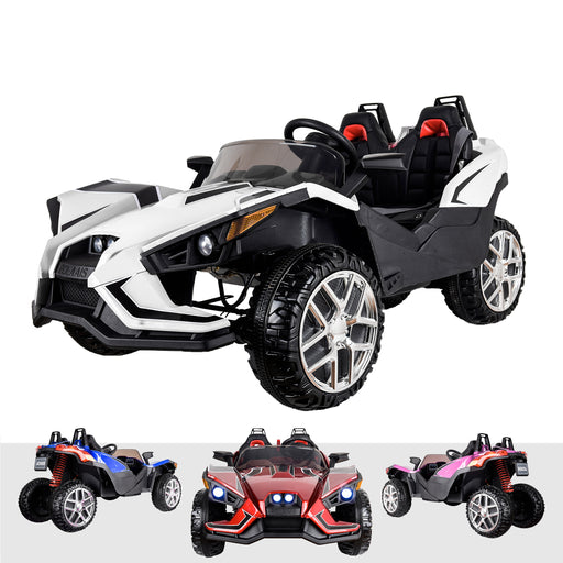 kids polaris slingshot style 12v battery electric ride on car with remote white2 White riiroo peg perego 12v 2 seater battery ride on toy
