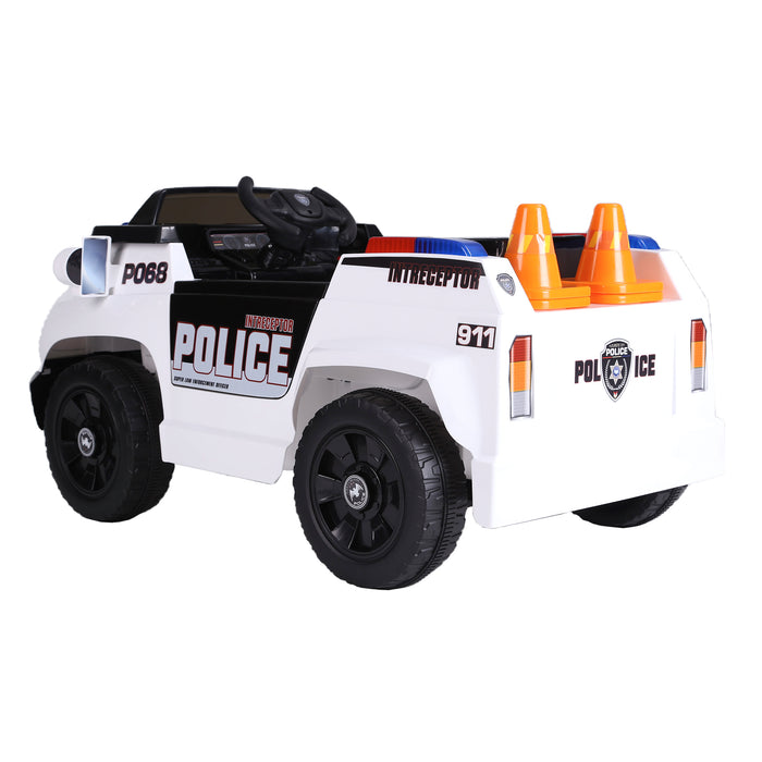 kids police truck with cones electric ride on car 2 riiroo 6v