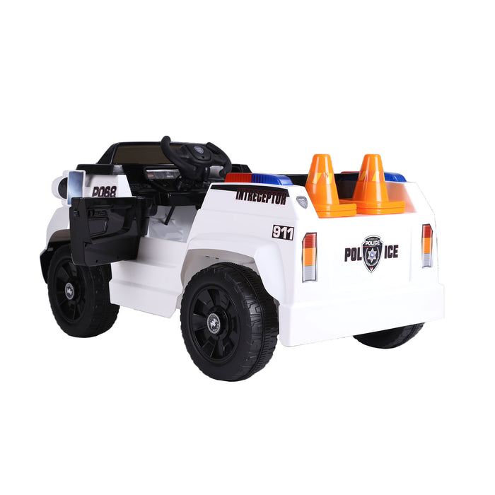 kids police truck with cones electric ride on car 5 riiroo 6v